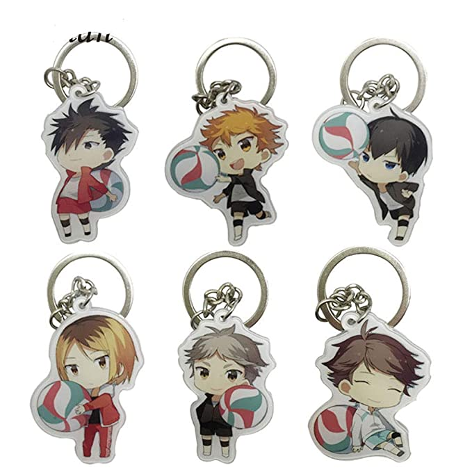 6pcs/lot Karasuno Nekoma Anime Karasuno High School Doomed Battle Metal Keychain for Men Key Chains