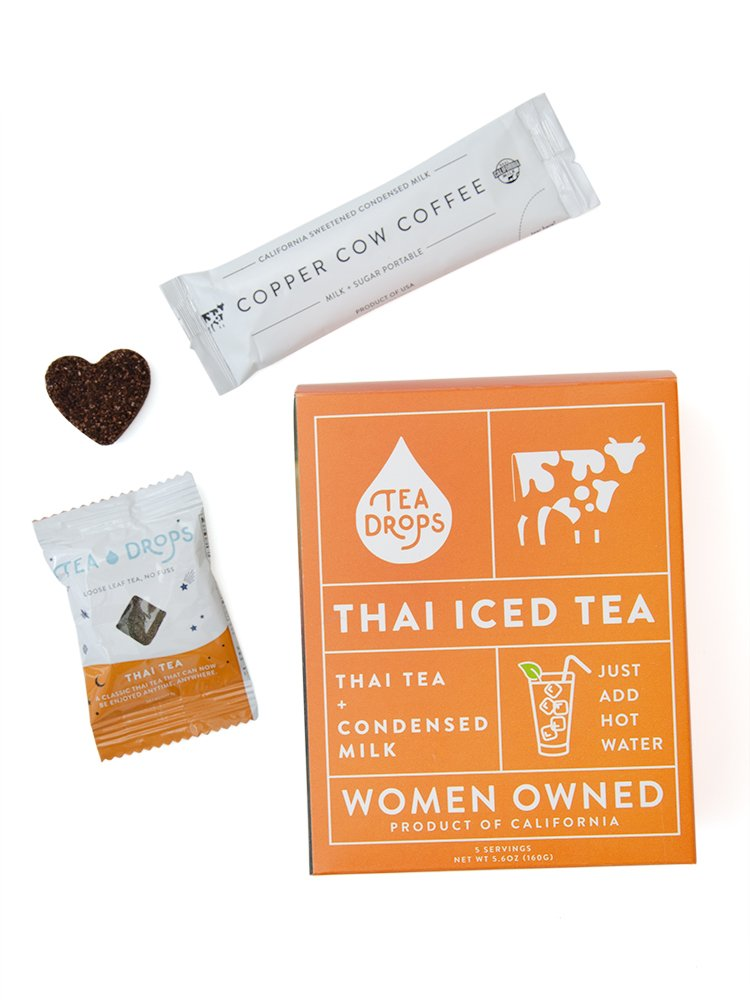 Tea Drops Instant Thai Tea Kit - Five Servings of Authentic Thai Iced Tea with Condensed Milk Packets by Tea Drops