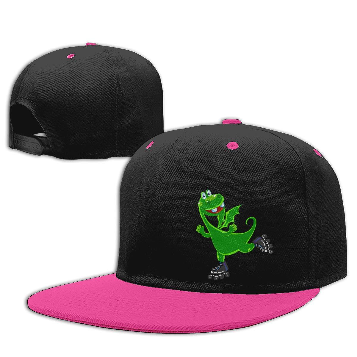 Men Womens Punk Rock Cap Dinosaur Riding Roller Skates Fashion Flat Brim Baseball Caps