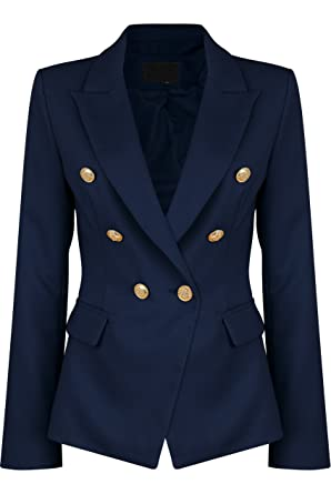 36d8caab9b0 Double Breasted Gold Button Military Style Navy Blue Blazer Ladies Coat  Jacket (36 (UK8))  Amazon.co.uk  Clothing
