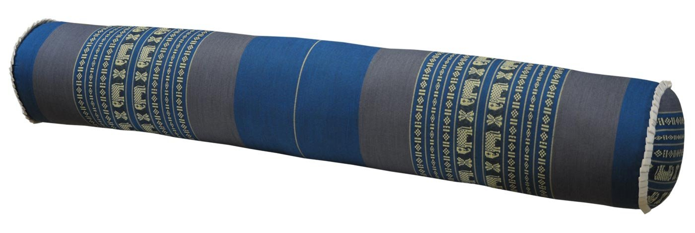 Thai cushion round bolster, pillow, sofa, imported from Thaïland, blue/grey, relaxation, beach, pool, meditation garden (81712) by Wilai GmbH