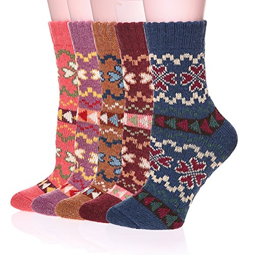 Wool Knit Dress - Color City Women's Super Thick Soft Knit Wool Warm Winter Crew Socks - 5 Pack Mixed Color 05