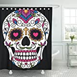 Emvency 72''x72'' Shower Curtain Waterproof Black Day Mexican Sugar Skull Red Dead Floral Halloween Cartoon Funny Mustache Home Decor Polyester Fabric Adjustable Hook