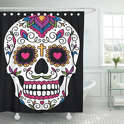 Emvency 72''x72'' Shower Curtain Waterproof Black Day Mexican Sugar Skull Red Dead Floral Halloween Cartoon Funny Mustache Home Decor Polyester Fabric Adjustable Hook by Emvency