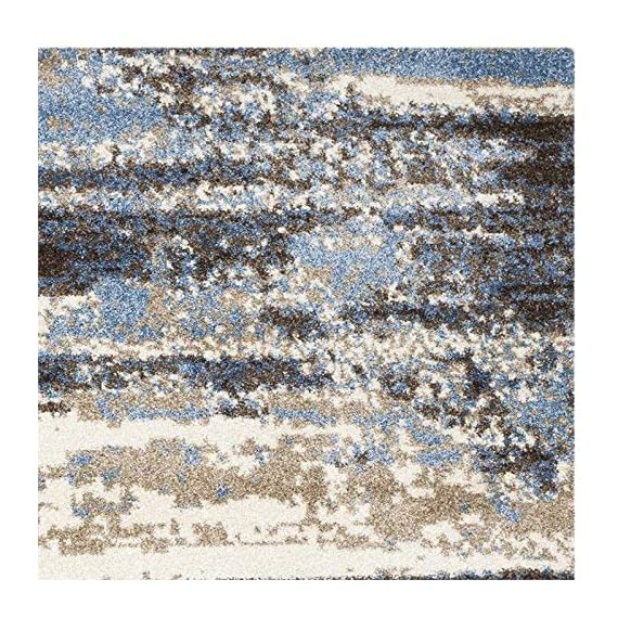 """Safavieh Retro Collection RET2138-1165 Modern Abstract Cream and Blue Runner (2'3"""" x 7') - Abstract design adds an eclectic and artistic flair Plush polypropylene fibers are virtually non-shedding Power-loomed construction ensures resilience in high-traffic areas - runner-rugs, entryway-furniture-decor, entryway-laundry-room - 61Tfoh NLRL. SS570  -"""