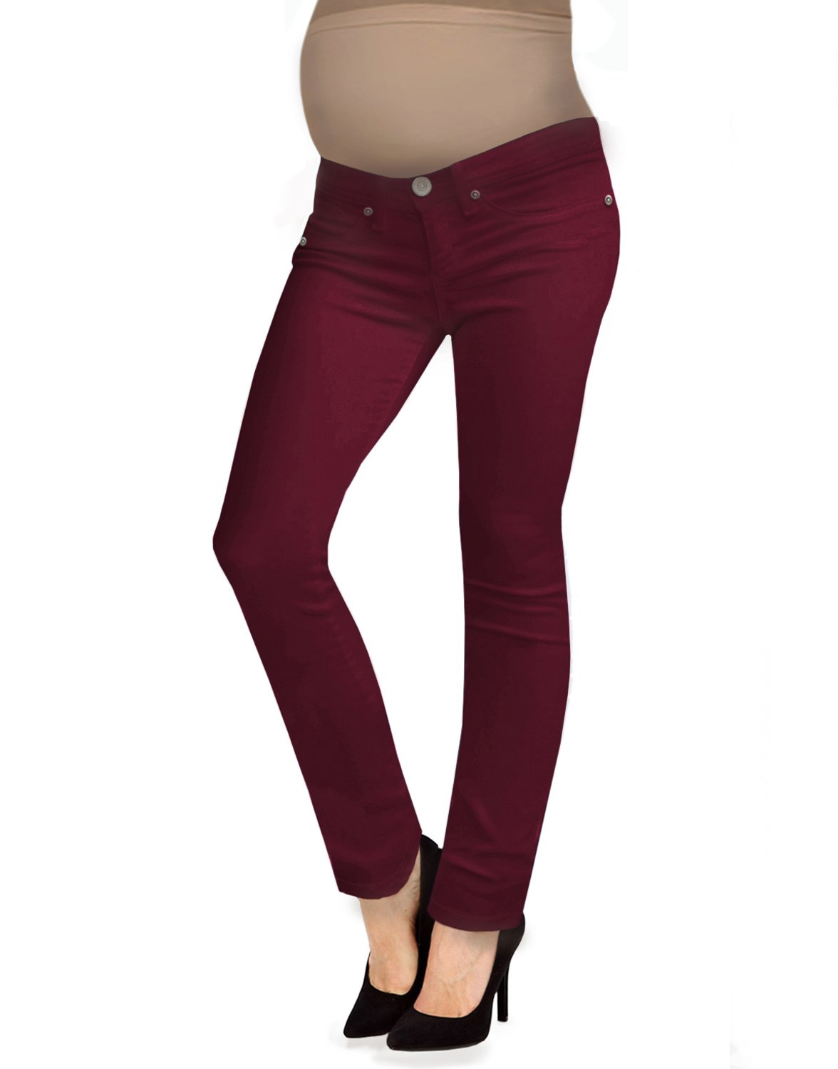 HyBrid & Company Super Comfy Stretch Women's Maternity Bootcut Jeans PM2835CDS Maroon Small