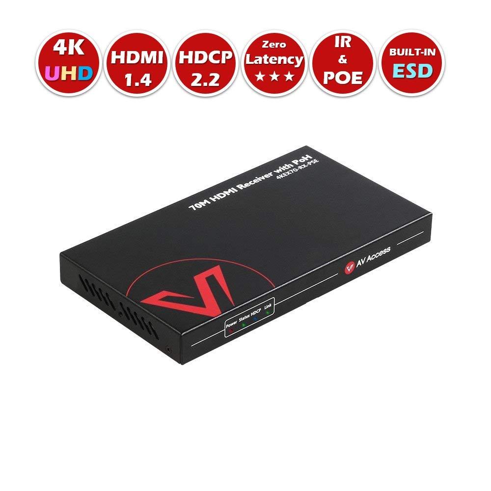 HDMI Extender Receiver(HDBaseT),4K x 2K UHD,Bi-Directional IR+RS232+HDCP2.2+PoE,Over Single Cat5e/6/6a/7,4K60Hz 131ft,1080P 230ft,Co-Work with AV Access Wall Plate Transmitter