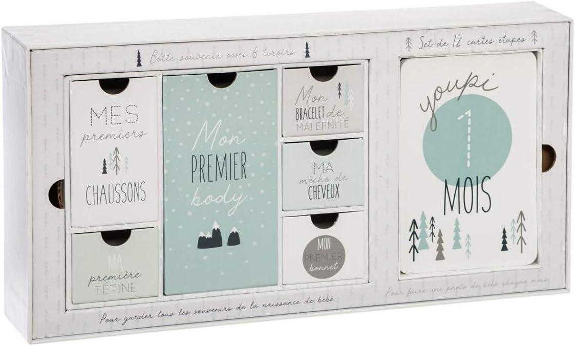 Coffret Naissance avec Boite Souvenirs 6 tiroirs et Set de 12 Cartes /étapes Atmosphera