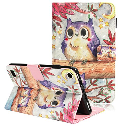 Folio Case for All-New Amazon Fire 7 Tablet (7th Generation, 2017 Release) - ZAOX Slim Folding Flip Leather Stand Protective Smart Cover Case for Fire Kindle Fire HD 7 Inch 5th Gen 2015, Cute Owl ()