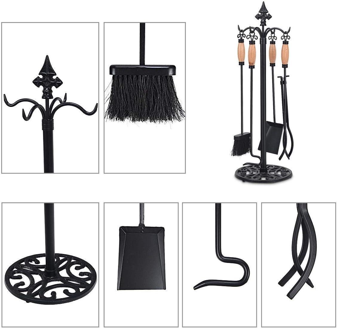 simplyUSAhello 5 Pieces Fireplace Iron Tools Set
