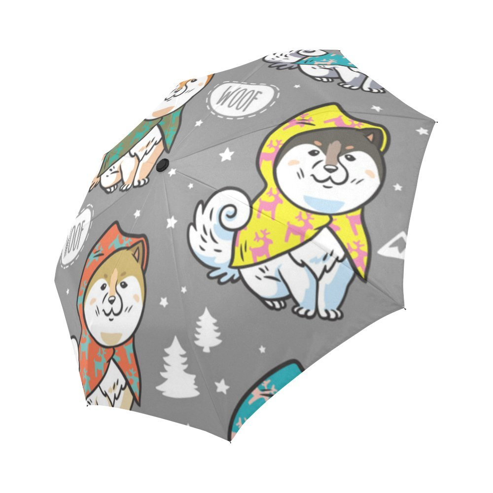 your-fantasia Custom Auto Open Close Folding Umbrella Siberian Husky Puppies in Colorful Raincoats Waterproof Travel Umbrella