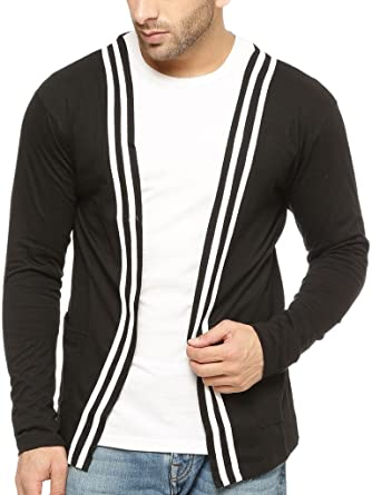 Gritstones Round Neck Full Sleeve Men'S Shrug GSFSSHG1304BLKWHT Men's Sweaters at amazon
