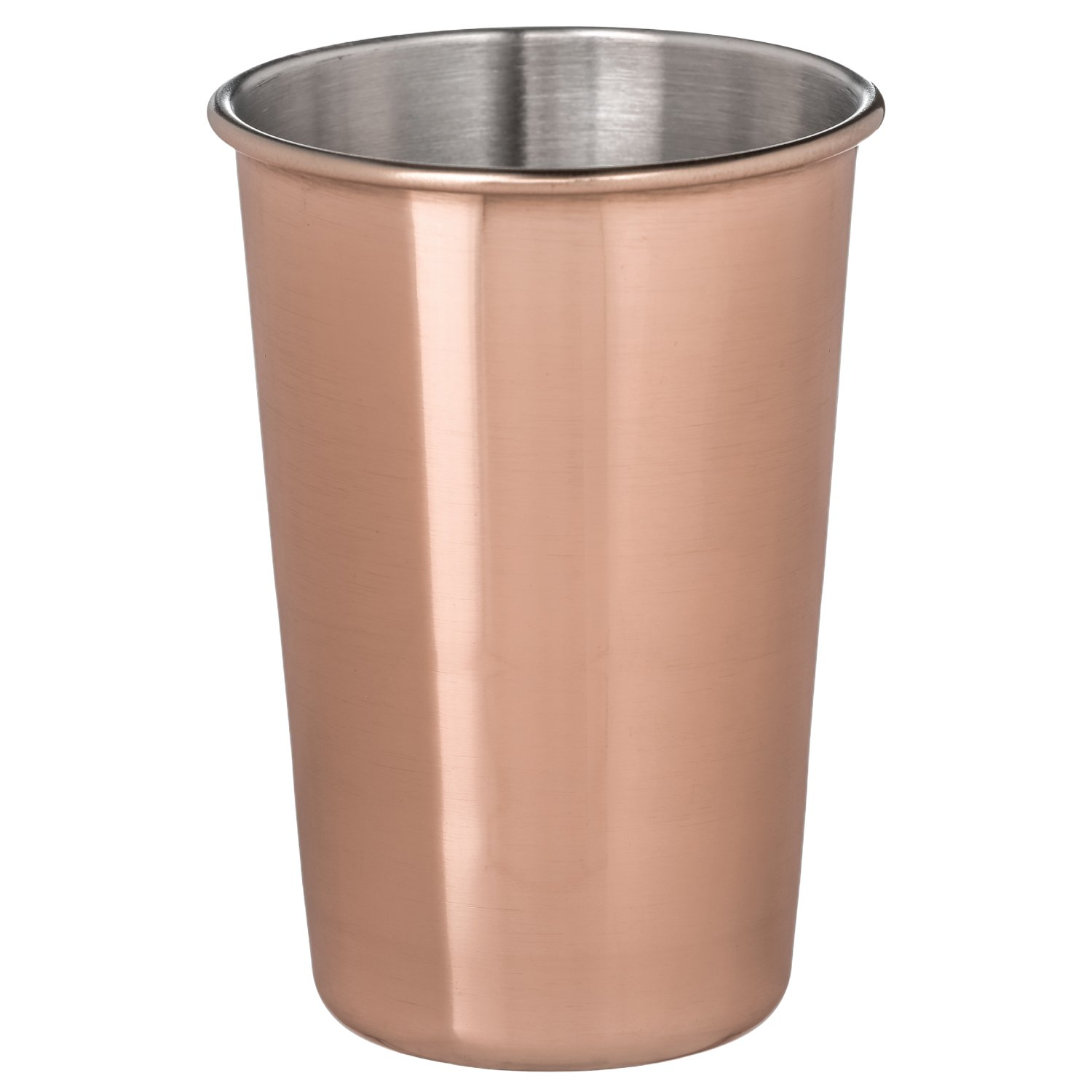 Thirsty Rhino Tenki, 16 oz Copper Plated Pint Cup Glass Tumbler Mug, Copper Plated (Set of 6)