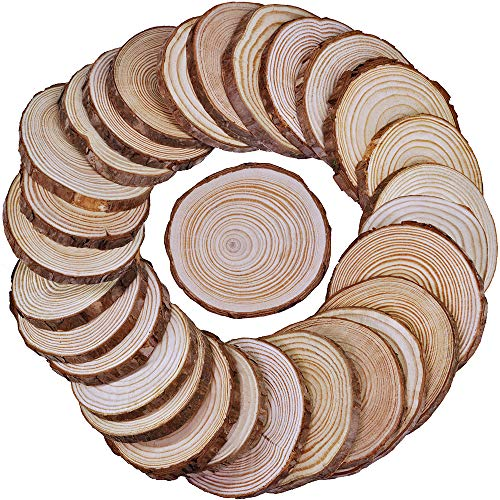 (Supla 30 Pcs Round Wood Slices Bulk Natural Pine with Bark 3.5-4