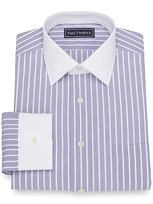 Men's Vintage Style Shirts Paul Fredrick Mens Cotton Satin Stripe Dress Shirt $84.50 AT vintagedancer.com