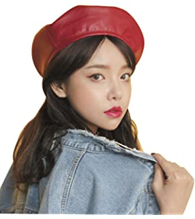 02e91a14eede5 Lawliet Womens Faux Leather Beret Beanie Hat Army Military Adjustable  Fashion T294 T294black Accessories