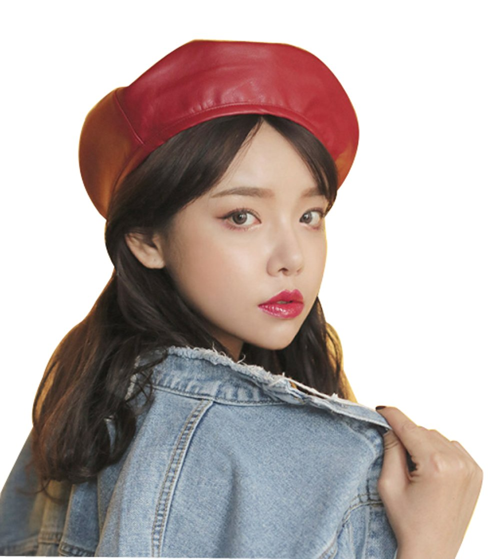 Clecibor Faux Leather Beret Solid Plain Flat Top PU Berets Fashion French Style Painters Hat Cap, Red