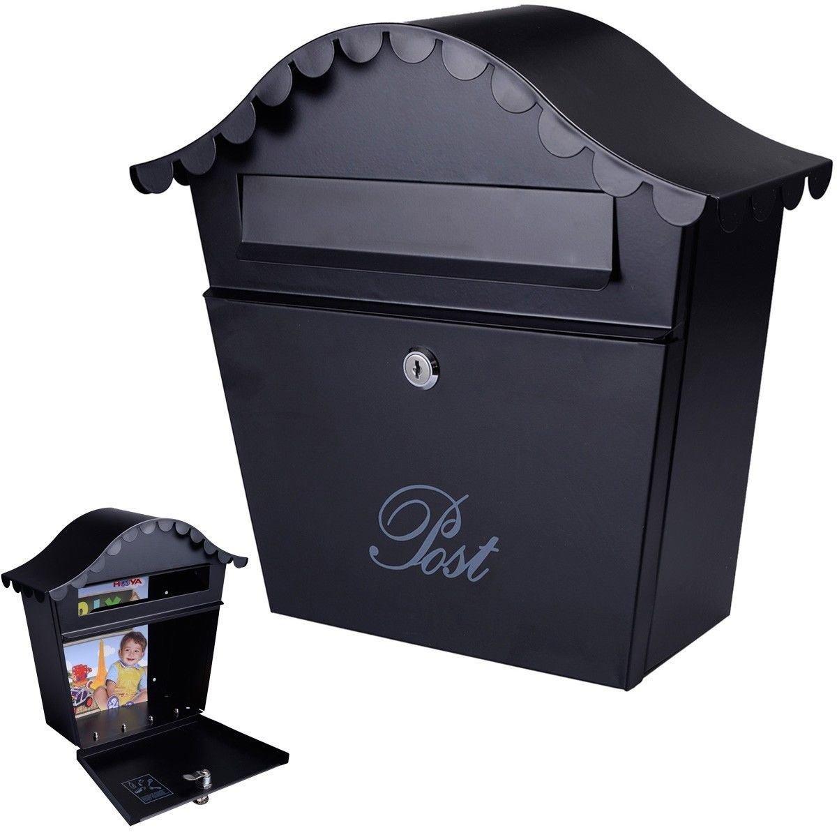 Wall Mount Black Mail Box w/ Retrieval Door & 2 Keys Steel Mailbox New