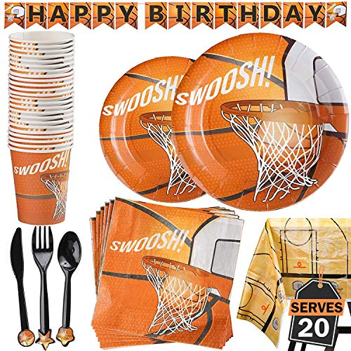 177 Piece Basketball Party Supplies Set Including Banner,