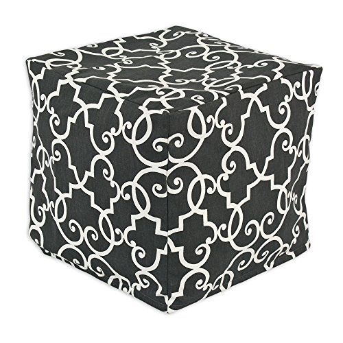 Chooty Woburn Slate KE Zippered Beads Footstool, 12.5 by 12.5-Inch, Grey/White