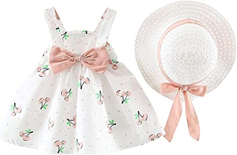 #QZO Summer Fruit Cherry Girls Sleeveless Bowknot Backless O-Neck Dress Costume