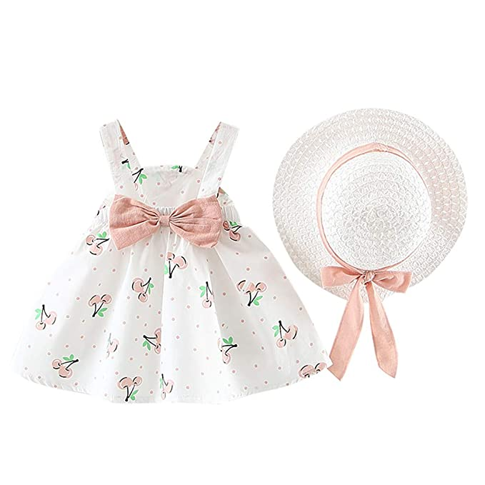 DWQuee 3-24 Months Baby Girl Clothing Set Cherry Princess Dresses Bow Hat Outfits