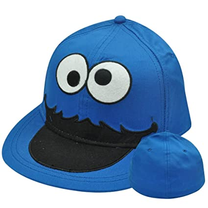 3b609731 Amazon.com: Sesame Street Cookie Monster Big Face Flat Bill Brim ...