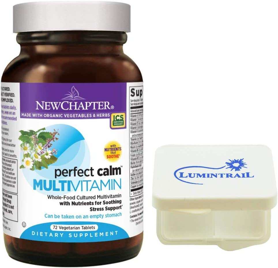 New Chapter Perfect Calm – Daily Multivitamin for Stress Mood Support with B Vitamins Holy Basil Lemon Balm Organic Non-GMO Ingredients – 72 Count Bundle with a Lumintrail Pill Case