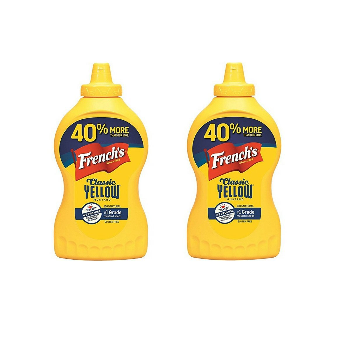 French's Classic 100% Natural Yellow Mustard, 20 Ounce (Pack of 2)