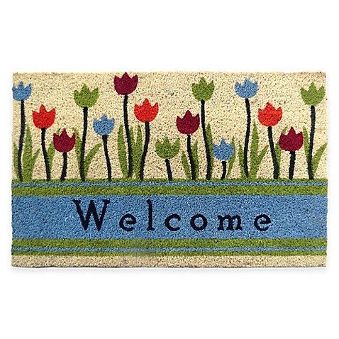 Welcome Tulip 30-Inch x 18-Inch Door Mat