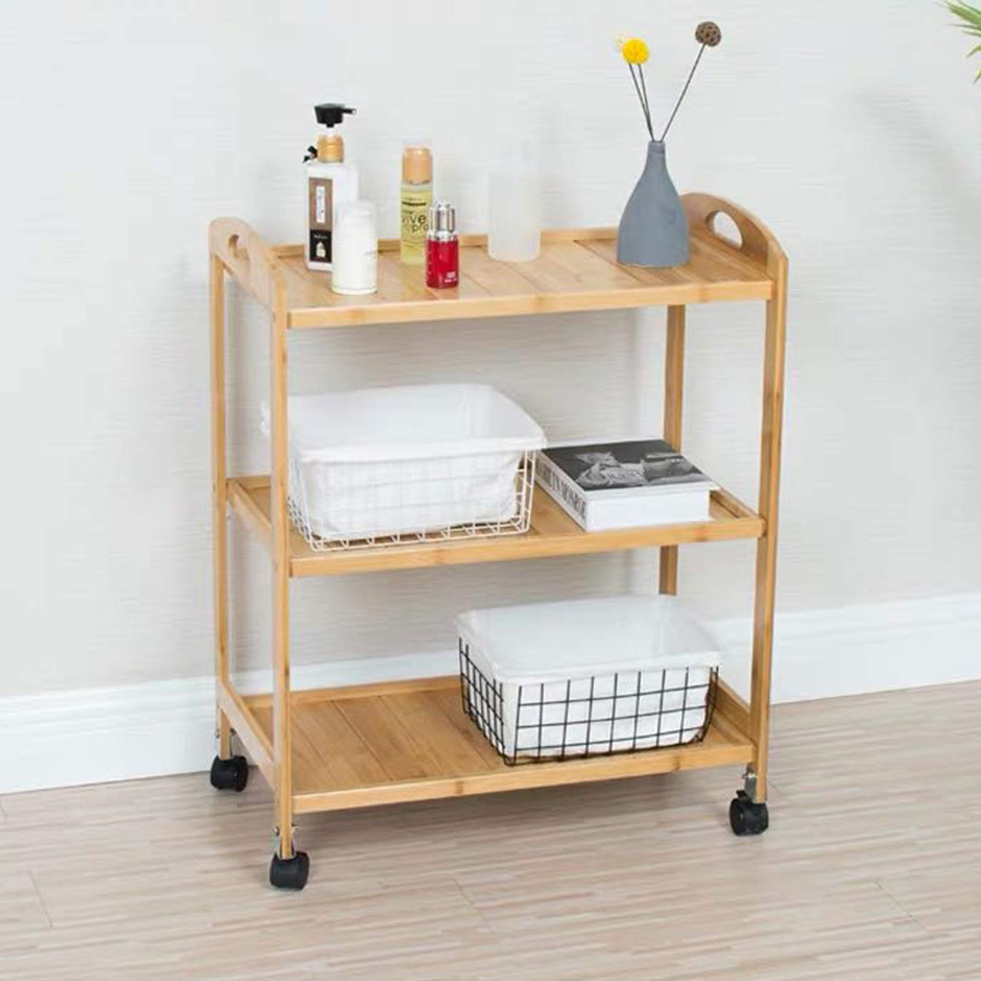 MBQQ Bamboo 3-Tier Storage Kitchen Cart Serving Bar Cart Island with Wheels,Rolling Bar and Serving Cart,Move Storage Coffee/Wine Island Shelf,Bathroom Shelves by MBQQ