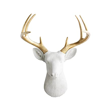 Wall Charmers Deer In White + Gold Antler   Faux Head Bust Fake Animal  Resin Taxidermy