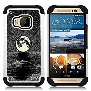 For HTC ONE M9 - MOON PENCIL DRAWING INK NIGHT SEA Dual Layer caso de Shell HUELGA Impacto pata de cabra con im??genes gr??ficas Steam - Funny Shop -