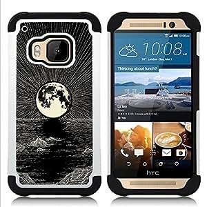 - MOON PEN ART BLACK NIGHT WHITE OCEAN - - Doble capa caja de la armadura Defender FOR HTC ONE M9 RetroCandy