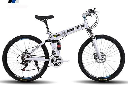 WSFF-Fan Bicicleta de montaña Bicicleta Plegable Rueda de 24-26 Pulgadas, Tres Opciones de Cambio (21-24-27), neumático Especial Todoterreno,White,24