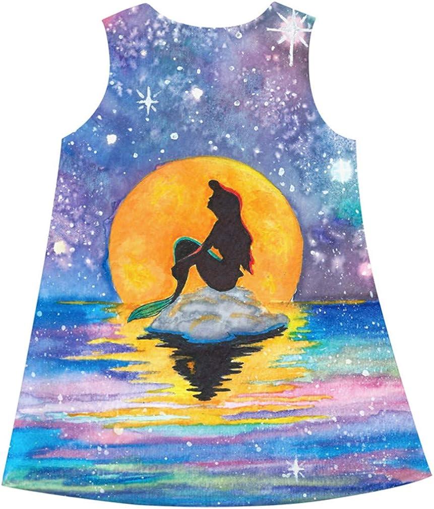 Ocean Plus Abiti Bambine e Ragazze Senza Maniche Bambina Ginocchio Carino Vestito con Motivo Stampato Abito Fenicottero Allungare Vestito da Festa