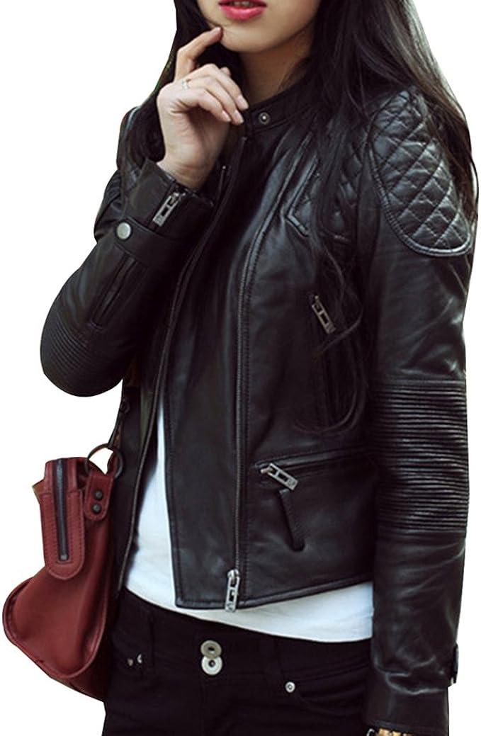 Guiran Damen Bikerjacke PU Lederjacke Mantel Jacket Outwear