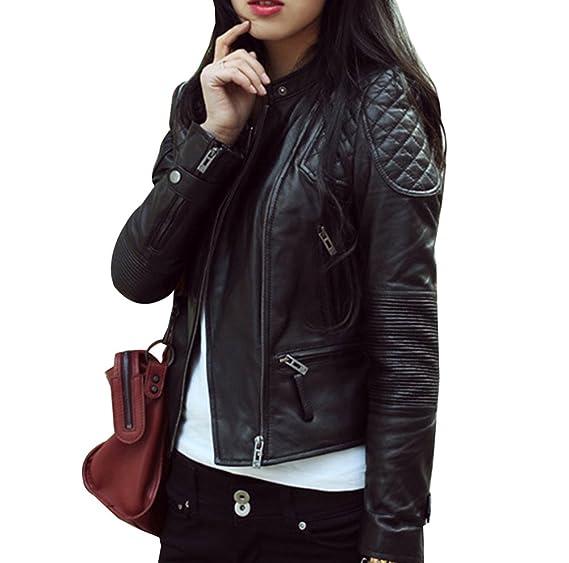 eaa2b54817 Femme Classique Blouson Veste Moto Courte Veste en Cuir PU Blousons Manches  Longues Veste en Similicuir: Amazon.fr: Vêtements et accessoires