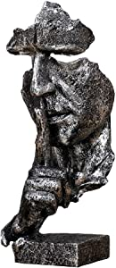 RUIHAI Silence is Golden - Handcrafted Silent Men Statues Resin Abstract Sculpture Office Home Decor Figurine Gift (Silver - S)