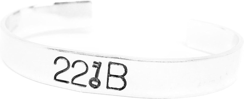 Foxwise Sherlock Holmes Inspired - 221B - Hand Stamped Aluminum Bracelet, a Original