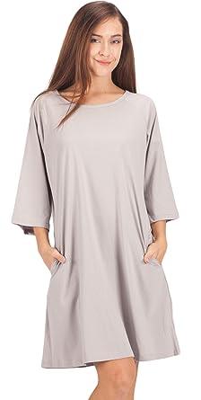 WEWINK CUKOO Ladies Nightwear 100% Cotton Nightdress 3 4 Long Sleeved  Nighties Nightshirt  Amazon.co.uk  Clothing 5dddd0387