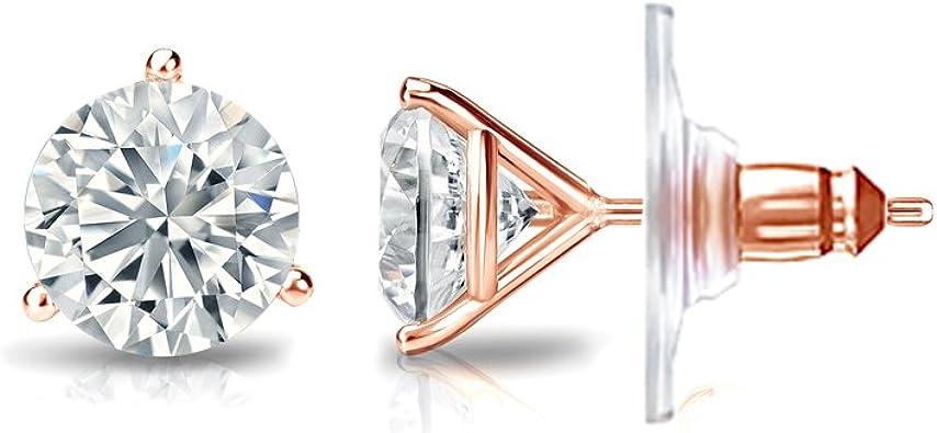 14k Gold 4-Prong Basket Round Diamond Men SINGLE STUD Earring 1//8-1 ct, White, SI2-I1 Secure Lock Back