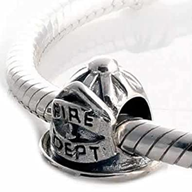 b524674df Image Unavailable. Image not available for. Color: Fire Dept Fire Fighter Cap  Charm Bead ...