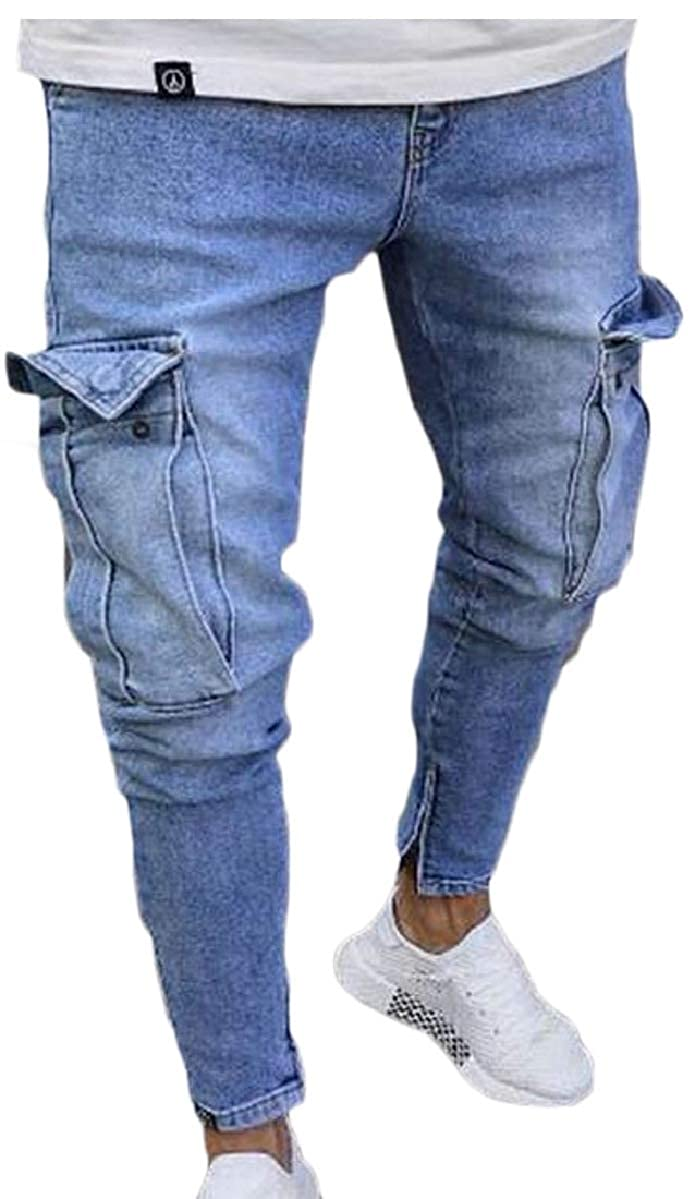 YIhujiuben Mens Classic Washed Joggers Pants Zipper Pockets Denim Pants Jeans