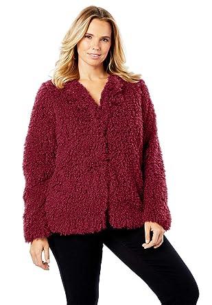 9d0e1a6dc51 Roamans Women s Plus Size Plush Faux Fur Coat at Amazon Women s Clothing  store