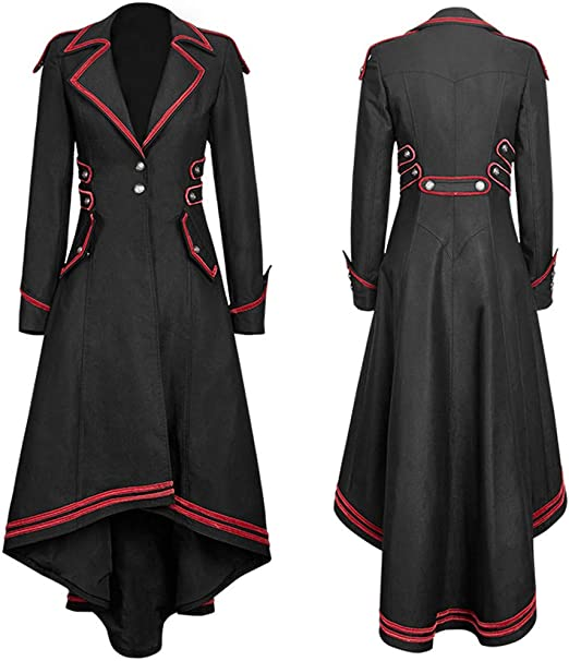 POTO Coats for Women Womens Vintage Steampunk Long Dress Coat Gothic Overcoat Ladies Retro Jacket Outwear