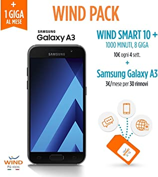 Wind Samsung Galaxy A3 Smartphone, 16 GB (icluidos) + Tarjeta SIM Wind recargable con oferta Wind Smart 10 + Wind Pack.: Amazon.es: Electrónica