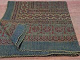 (US) King Size Block Print Handmade Kantha Quilt Throw Vegetable Ajarak Prints Mix 009