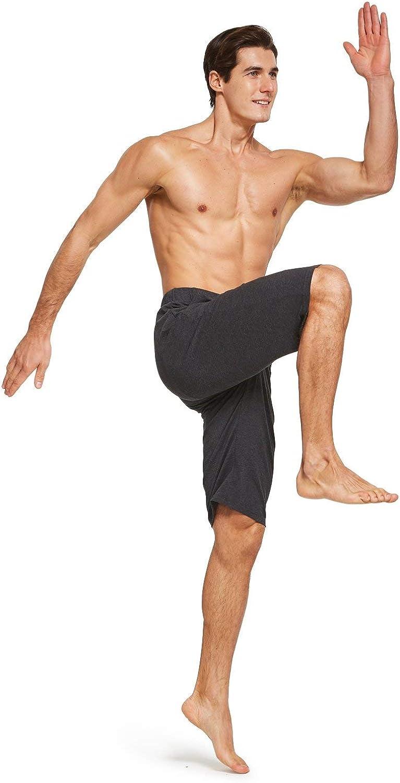 BALEAF Mens 12 Long Shorts Cotton Yoga Workout Athletic Pajama Walking Lounge Sweat Jersey Shorts Pockets