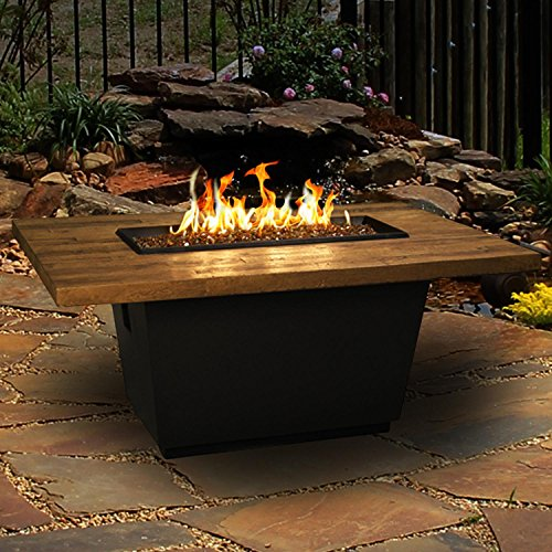 Cosmopolitan 54-inch French Barrel Oak Propane Gas Rectangular Fire Table By American Fyre Designs – Black Lava